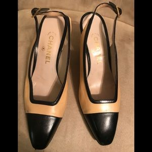 Chanel Color block Slingback Heels, 381/2